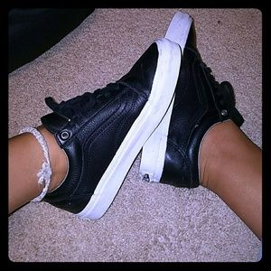 Perfect holographic black leather classic vans